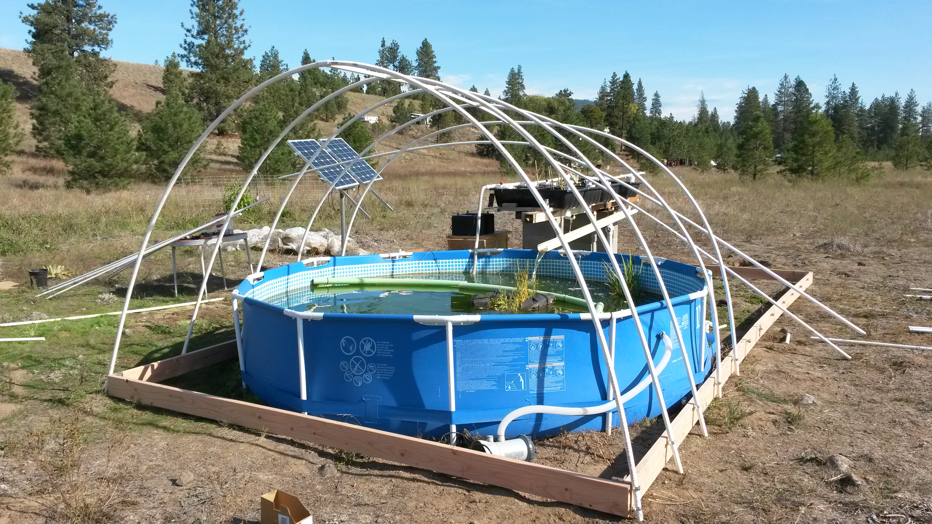 Upgrade to the electrical for aquaponics this happy for Greenhouse over swimming pool